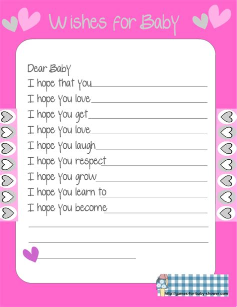 baby shower wish list template free printable baby shower wishes for the baby
