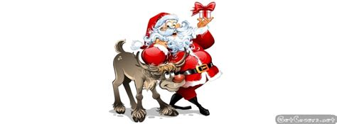 santa claus and reindeer animation facebook cover photo