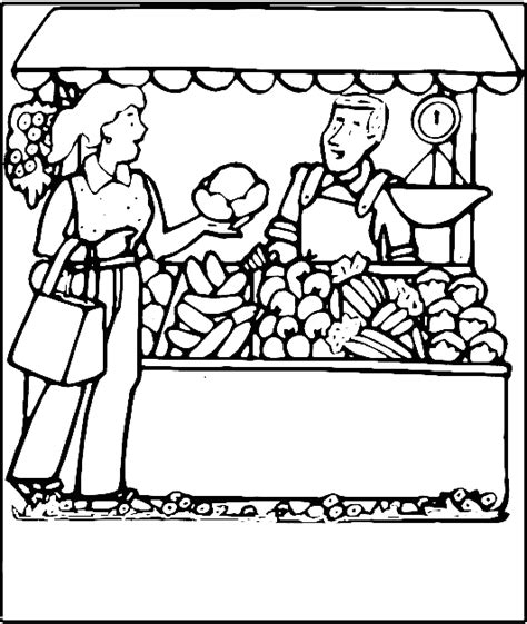 Buying Vegies Coloring Page For Free Printable