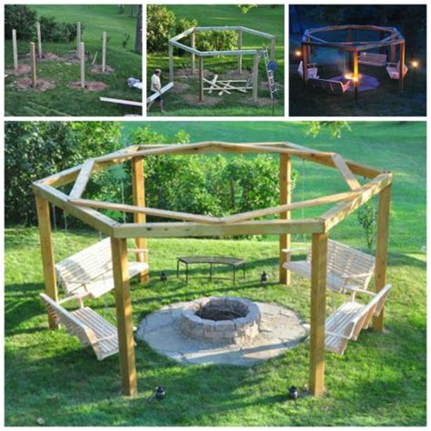 home made swings diy porch swing fire pit is easy to make and looks great