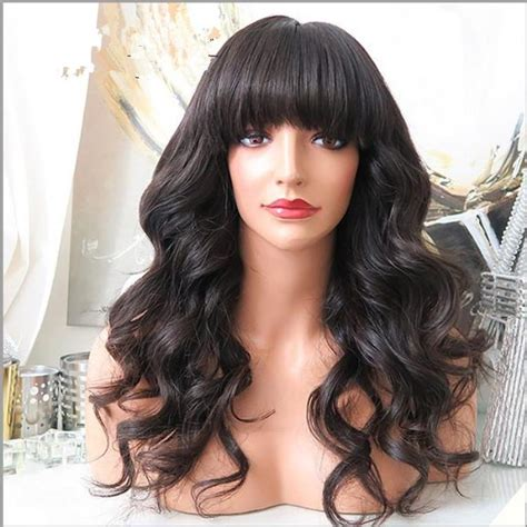 body wave hair with bangs glueless full lace wig with bangs body wave brazilian lace