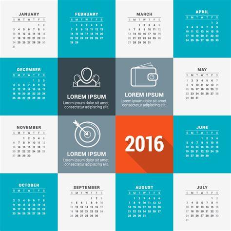 card calendar template 2016 template card view calendar 2016 vector free vector