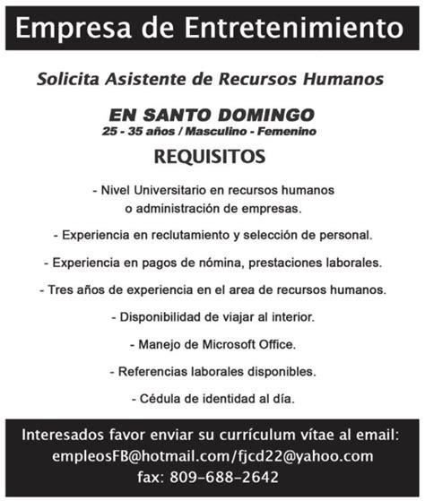 Modelo Curriculum Jefe De Recursos Humanos Empleo Se Solicita Asistente De Recursos Humanos Env 237 A Tu Cv Ayuda Empleos Rd Empleos En