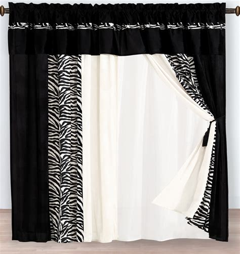 zebra window curtains 4 pc micro fur white black flocking zebra pattern window