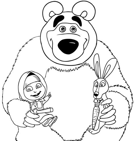 coloring pages masha and bear masha bear and rabbit coloring page printable