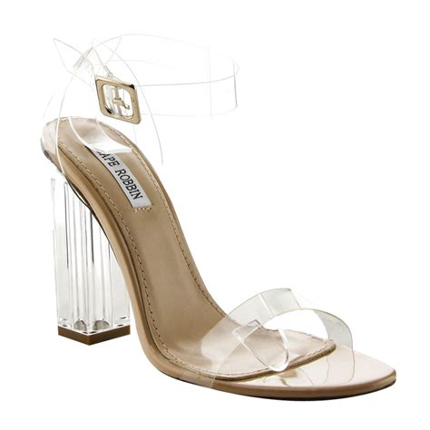 clear sandals heels s strappy clear lucite block chunky heel sandals