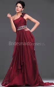 Unusual Wedding Dresses Uk A Line Burgundy Chiffon One Shoulder Floor Length With Beading Bridesmaid Dresses Ukbd03 442