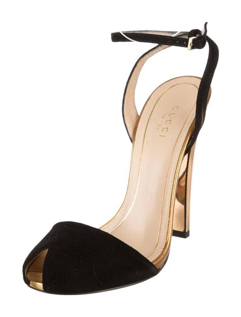 Gucci Heels 1 gucci new black suede gold mirror strappy high heels pumps in box at 1stdibs