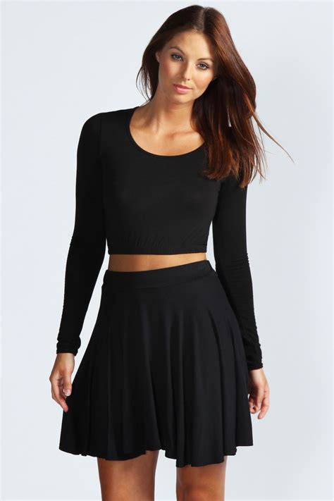 boohoo womens carey flippy jersey skater skirt ebay