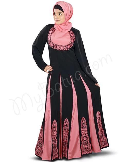 design dress muslim multi panel coral pink and black color anarkali wedding