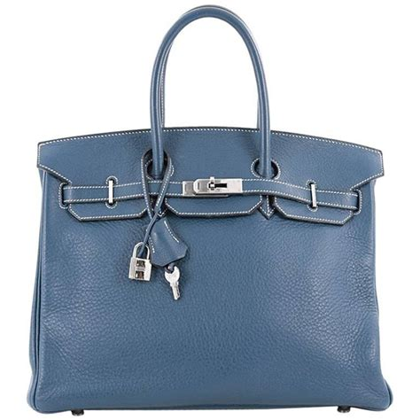 Features Oversizes Birkin by Hermes Birkin Handbag Blue Thalassa Clemence With