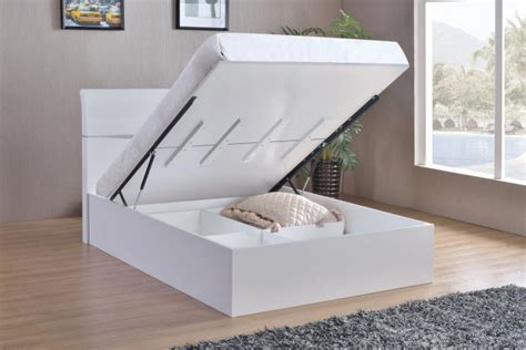 arden white high gloss double storage bed special offers