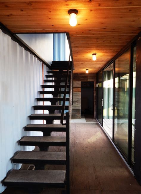 Modern Shipping Container Cabin   Industrial   Staircase