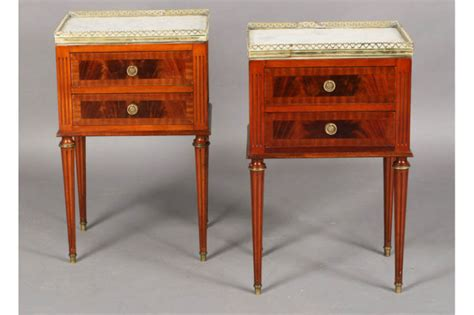 Antique Nightstands With Marble Top by Pair Louis Xvi End Tables Nightstands Marble Top