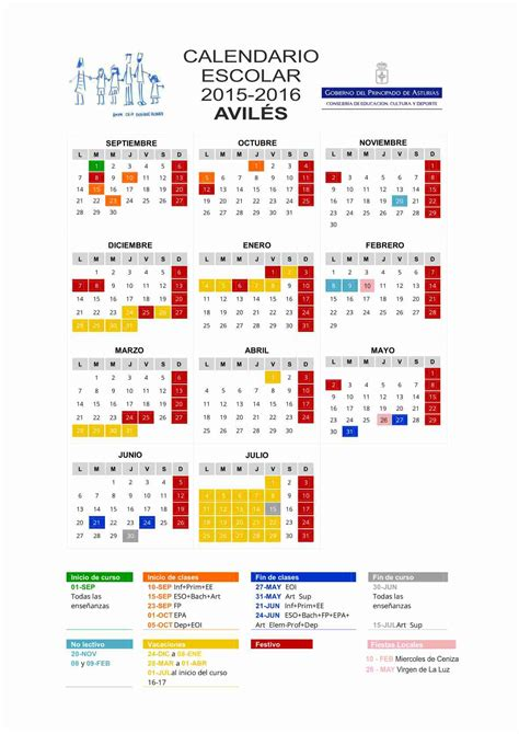 Calendario Escolar 2017 Asturias Calendario Escolar Avil 233 S 2015 2016 A Ceip Enrique