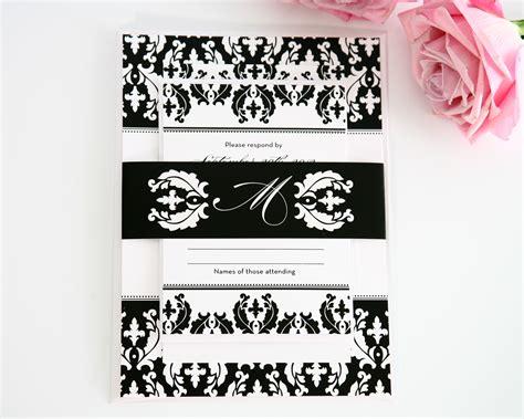 damask wedding invitations black and white damask wedding invitations wedding