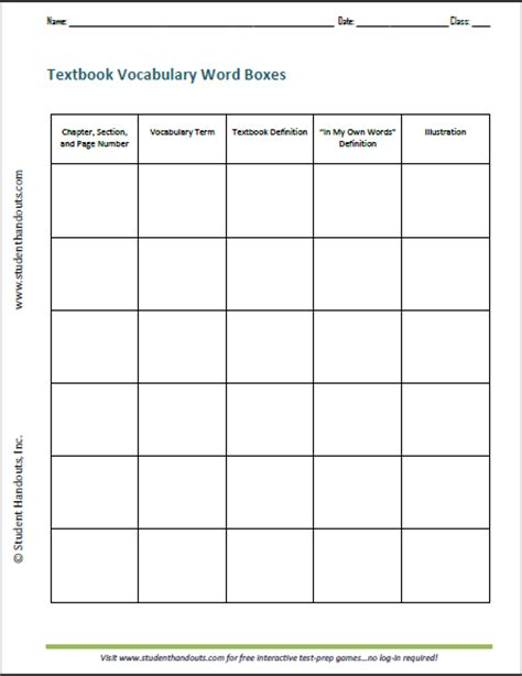 Vocabulary Worksheets by Textbook Vocabulary Word Boxes Free Printable Ela Worksheet