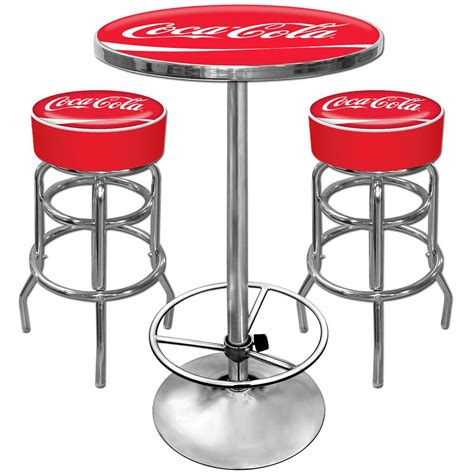 coca cola table and chairs set coca cola pub table and bar stools set free shipping