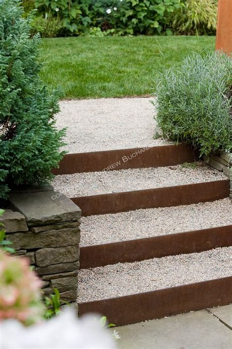 garden stairs steel risers back filled and topped with gravel combined