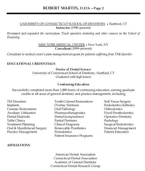 dental resume template sle resume dentist sle resume