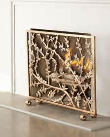 golden branch fireplace screen log holder
