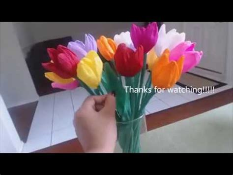 cara membuat bunga dari kertas unik cara membuat bunga tulip dari kertas krep yang unik youtube