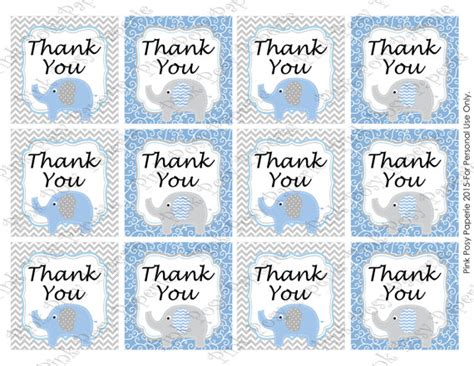 printable thank you tags for baby shower printable blue elephant baby boy shower thank you tags