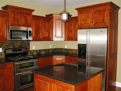 Kitchen Cabinets In Kitchen Remodeling Cherry Wood Kitchen Cabinets Black Granite Counters Cidar Construction