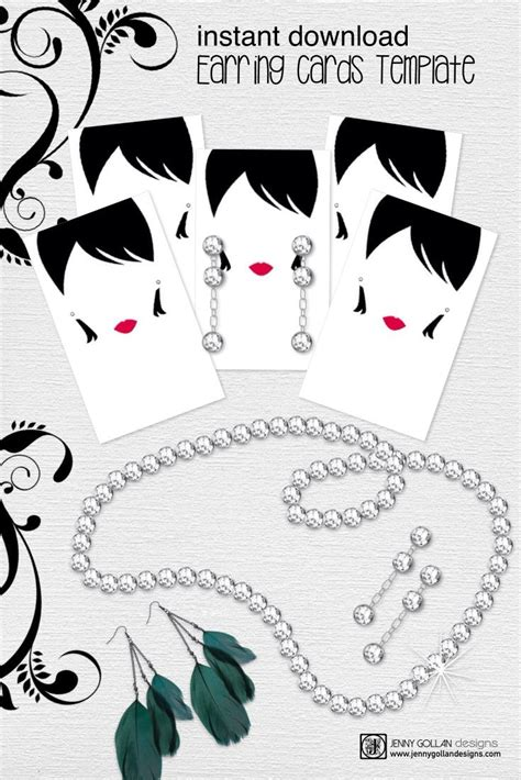 earring card template downloads display your earrings at craft fairs markets or in store