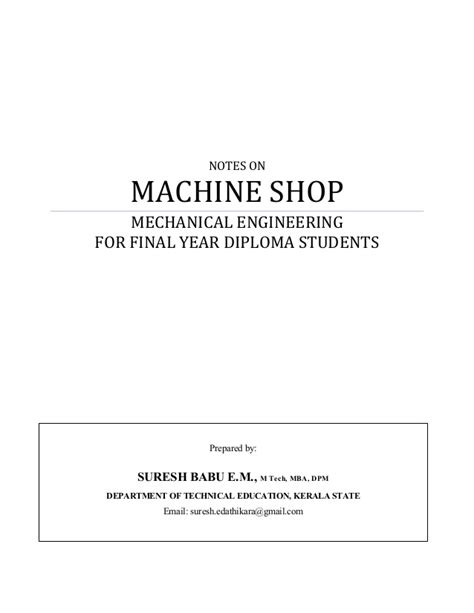 Notes For Mba Students by Machine Shop Notes Pdf
