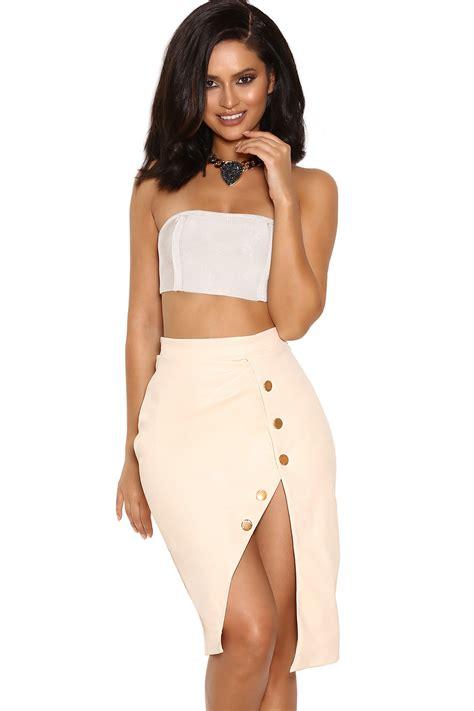 Top Five Bandeau Tops by Clothing Tops Lelisa White Panelled Bandage Bandeau Top