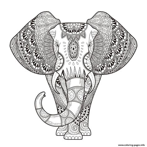 zen coloring pages elephant print elephant for adult hard difficult zen anti stress