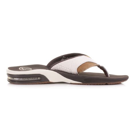 reef fanning mens black mens reef leather fanning flip flops white brown men sandals