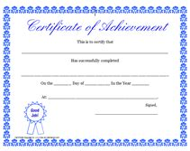certificate of achievement template free free printable certificate of achievement blank templates