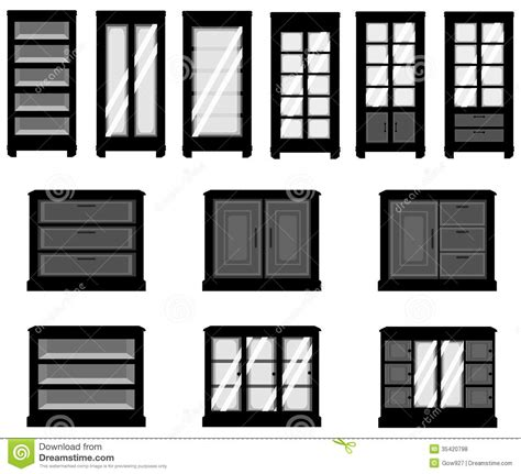 Floor And Decor Cabinets sets of silhouette cabinets create by vector stock vector