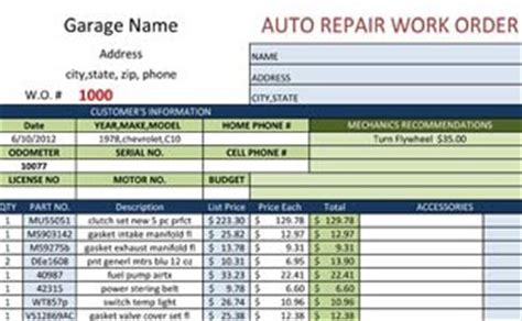 Invoice Template Repair Shop Work Order Template