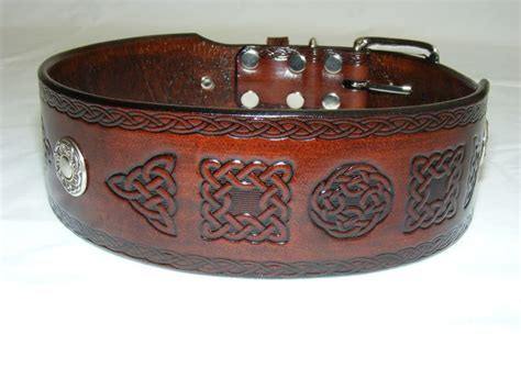 Handmade Leather Collars And Leads - handmade leather celtic collar many designs available
