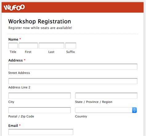 course application form template top 5 event registration form templates wufoo