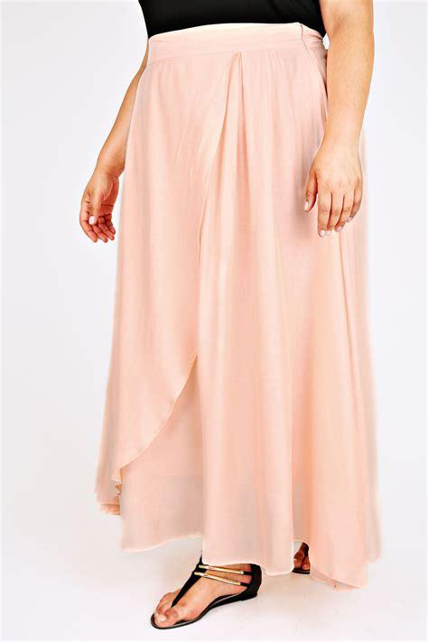 pale pink wrap maxi skirt plus size 14 16 18 20 22 24