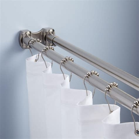 how to hang shower curtain rod straight double solid brass shower curtain rod bathroom
