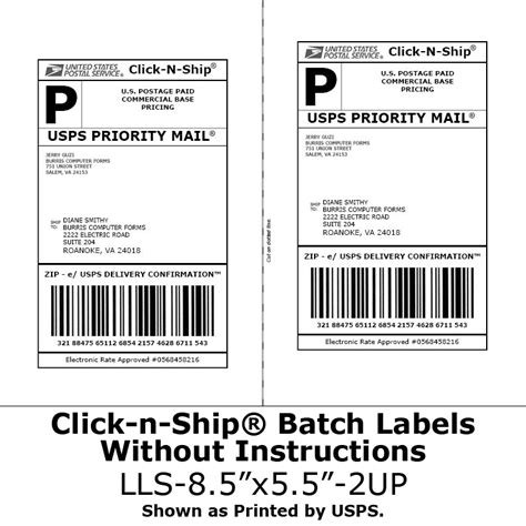 usps shipping label template blank labels for click n ship 174 no more taping on postage burris computer forms