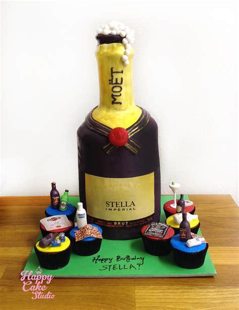 Cetakan Fondant Liquor Bottle 2 standing moet bottle cake and alcoholic cupcakes for stella happy cake studio