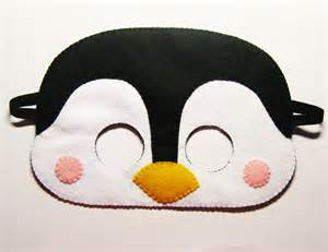 penguin felt mask white black yellow party costume for