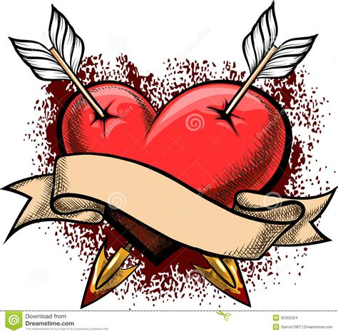 heart pierced by arrows stock images image 35355324