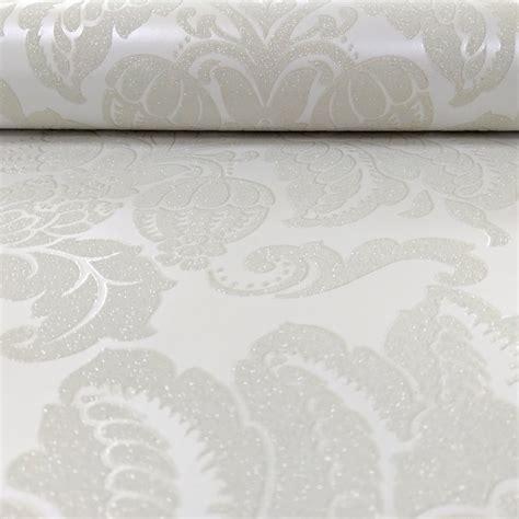 glitter wallpaper ivory arthouse glisten damask pattern floral metallic glitter