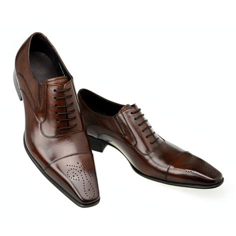 dress shoe 2018 2018 retro mens dress shoes genuine leather square toe classic formal business flat shoes