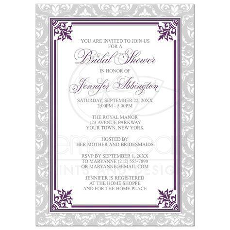 Bridal Shower Invitations   Plum Purple and Gray Elegant