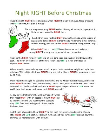 st patricks day left right pass the presents story game printable quot the night right before christmas quot poem