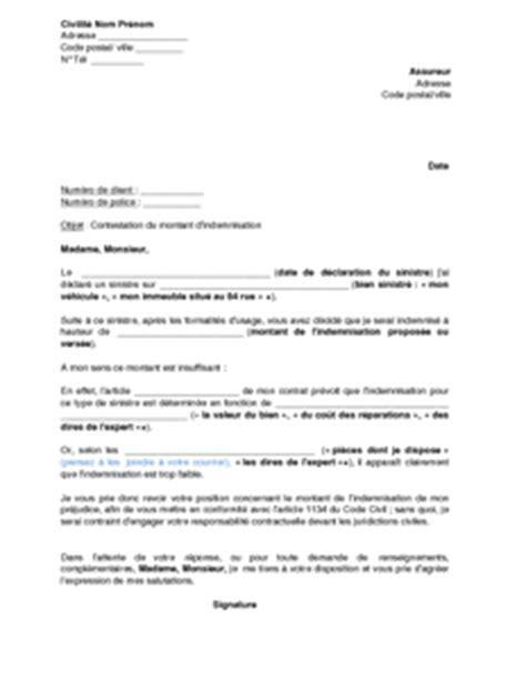 Lettre De Contestation Assurance Mobile Lettre De Contestation Du Montant De L Indemnisation Vers 233 E Par L Assureur Apr 232 S Un Sinistre