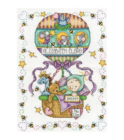 Birth Record Cross Stitch Kits Tobin Balloon Ride Counted Cross Stitch Kit Birth Record Jo